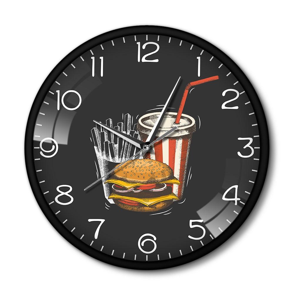 Comida para llevar de comida rápida hamburguesa papas fritas francés Soda negocios pared reloj Sillent de Metal negro reloj restaurante Klok