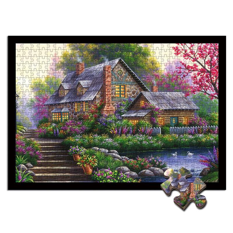 Rompecabezas de madera pintura al óleo de paisaje Marco de decoración 300/500/1000 grande de relajación de la muchacha de la pintura del porche