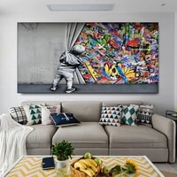 graffiti street art modern colorful creative bansky poster and prints canvas painting wall art picture for living room cuadros