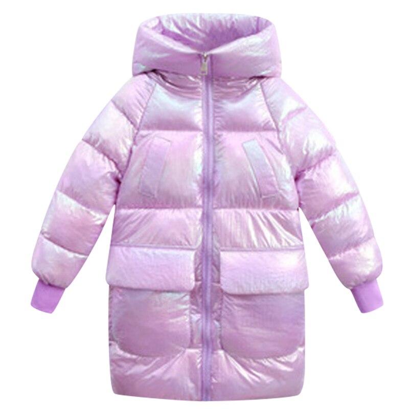 ¡Novedad de 2020! Chaqueta de invierno para niños, abrigo de invierno brillante iridiscente grueso para niñas, chaqueta de invierno de terciopelo con capucha para niñas, prendas de vestir 12