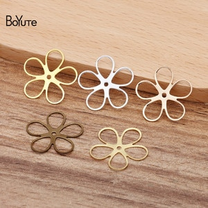 BoYuTe (100 Pieces/Lot) 22MM Metal Copper Stamping Plate Flower Materials Hand Made Diy Jewelry Accessories Parts