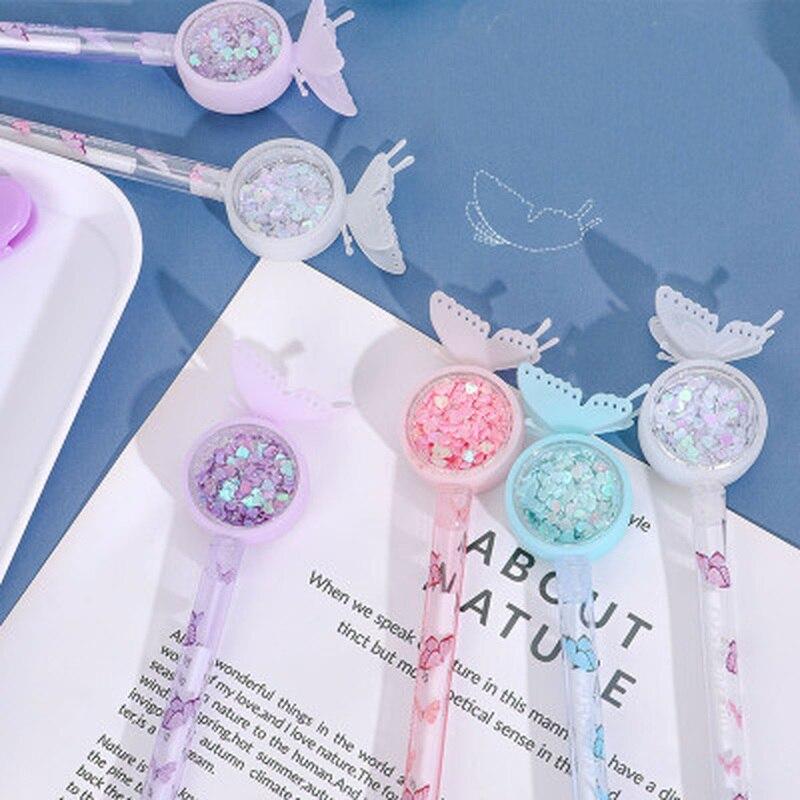 Bolígrafo de Gel mariposa 0,38mm, novedad, plumas Kawaii, bonito bolígrafo de Gel estacionario, lindas plumas para firma de estudiantes, suministros escolares Kawaii