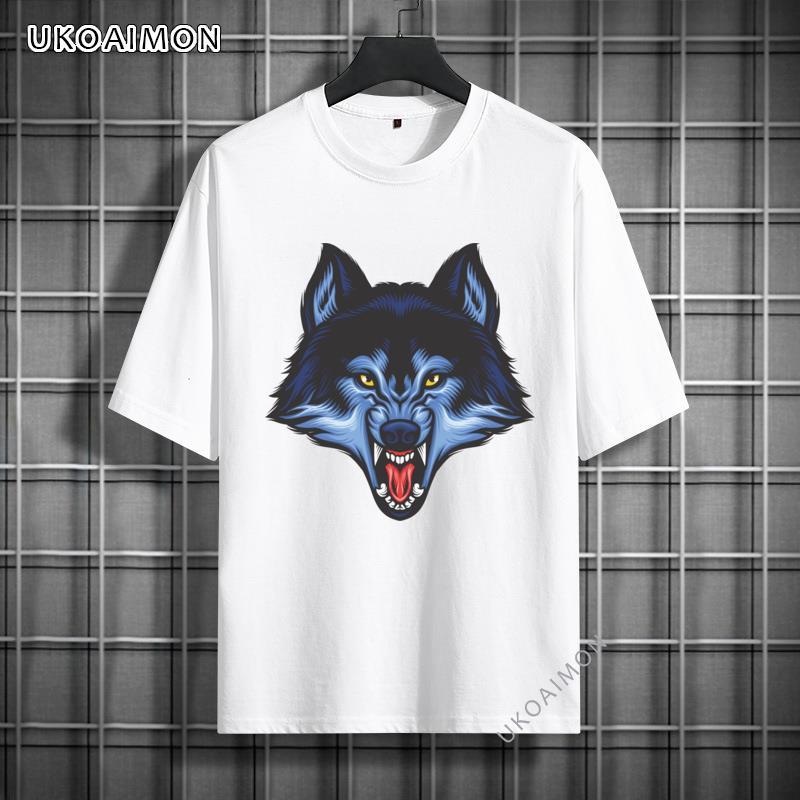Новое поступление, модные Молодежные футболки с принтом злого волка, обычные футболки из 100% хлопка, распространенные летние футболки, футбо...