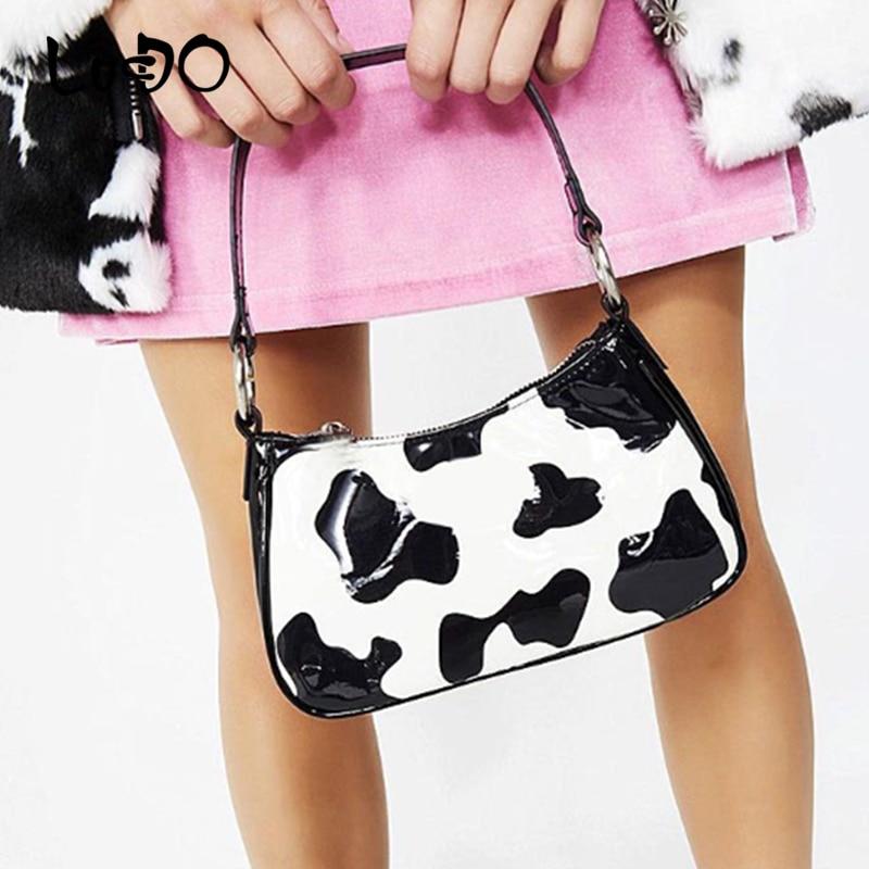 Bolso con estampado de vaca para mujer, bolsos de mujer a la moda, bolso de hombro femenino con forma de Baguette, bolso de mujer con la axila del 2020, bolsos de mano hobos
