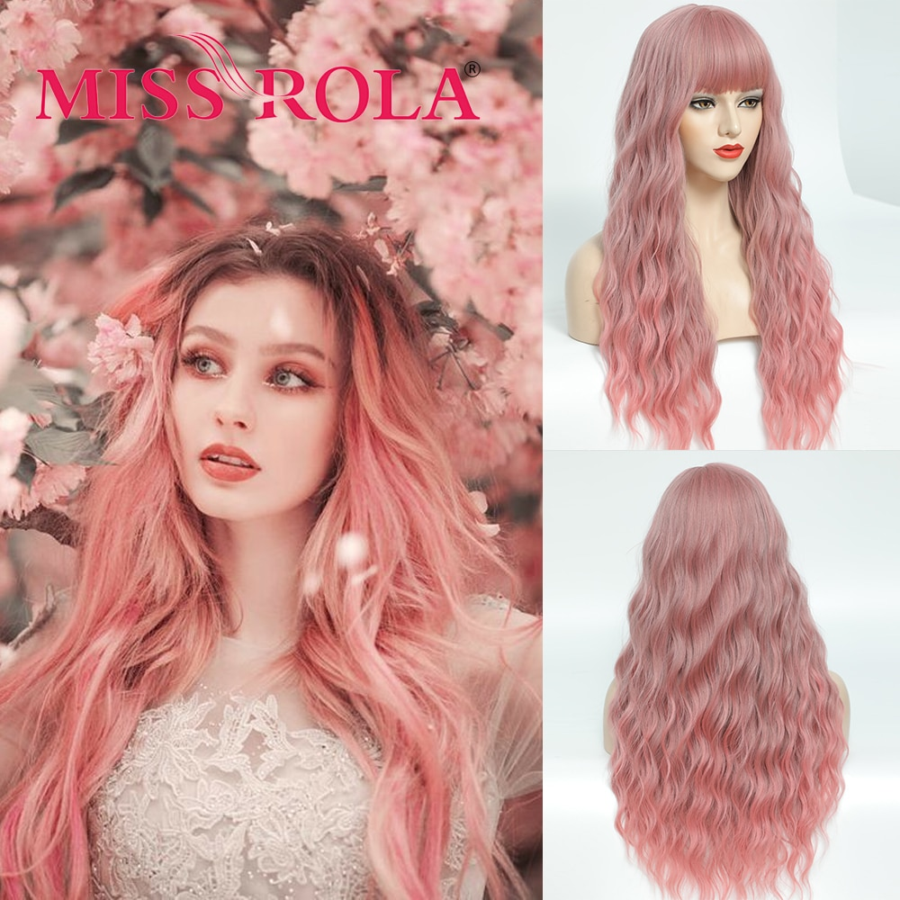 MISS ROLA Pink Ombre Light Ash Brown Blonde Wavy Wig Cosplay Party Daily Synthetic Wig for Women High Density Temperature Fibre