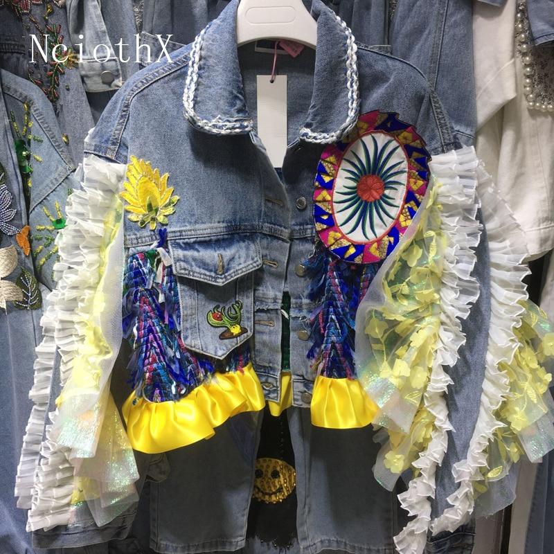 Для женщин уличная джинсовая куртка-бомбер, имеет женскую индивидуальность короткий жакет с бриллиантами джинсы с бахромой пальто jaqueta ...