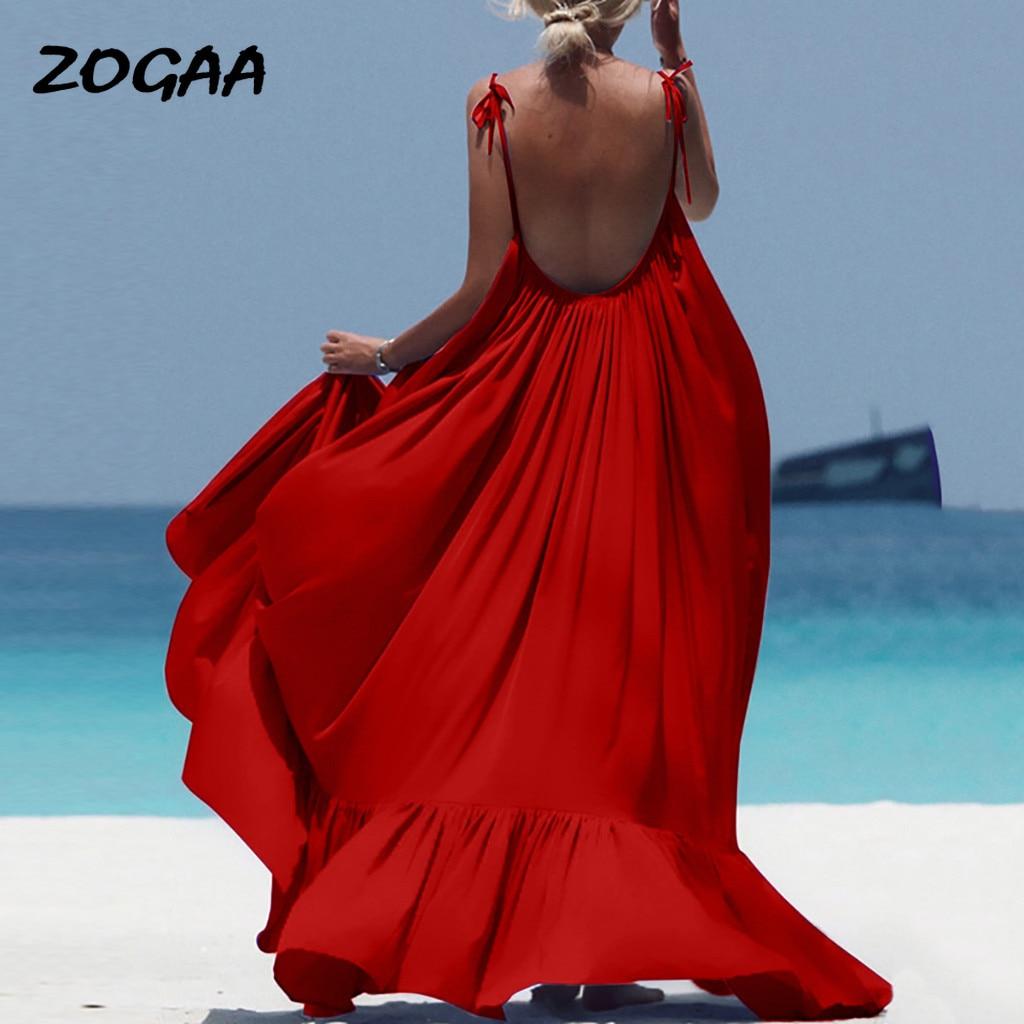 ZOGAA Boho Maxi Dress Women Spaghetti Strap Backless Long Sexy Summer Party Bohemian Beach Dresses Vestidos Robe Femme