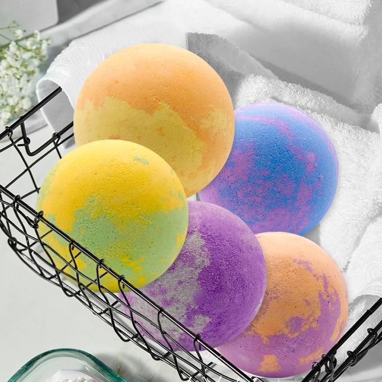 180g x 6 packed boxed mixed-color toys multi-bubble exfoliation explosive bath salts star bath bomb for bath bath soaking salts