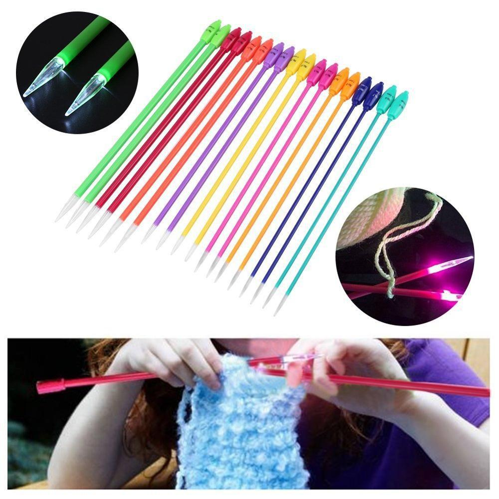 1 Pairs LED Crochet Knitting Needles DIY Sewing Tool Light Up For DIY Crafts Needlework Sweater Scarf Sewing Accessories