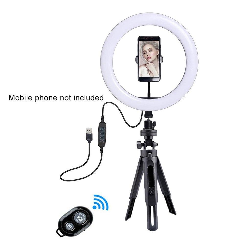 1 Juego de anillo de luz de selfie de 26CM y 10 pulgadas con trípode para transmisión en vivo LED inalámbrico de tres bloques regulable