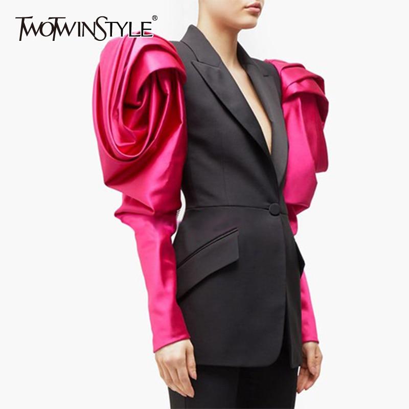 TWOTWINSTYLE سترة نسائية بألوان زاهية وأكمام منتفخة مزينة بقطع علوية للنساء لخريف 2020 مقاسات كبيرة ملابس عصرية جديدة