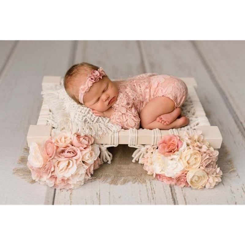 Baby Bed Newborn Photography Wooden Bed Bohemian Style Weaving Props Photography Chair Furniture For Studio Accessories