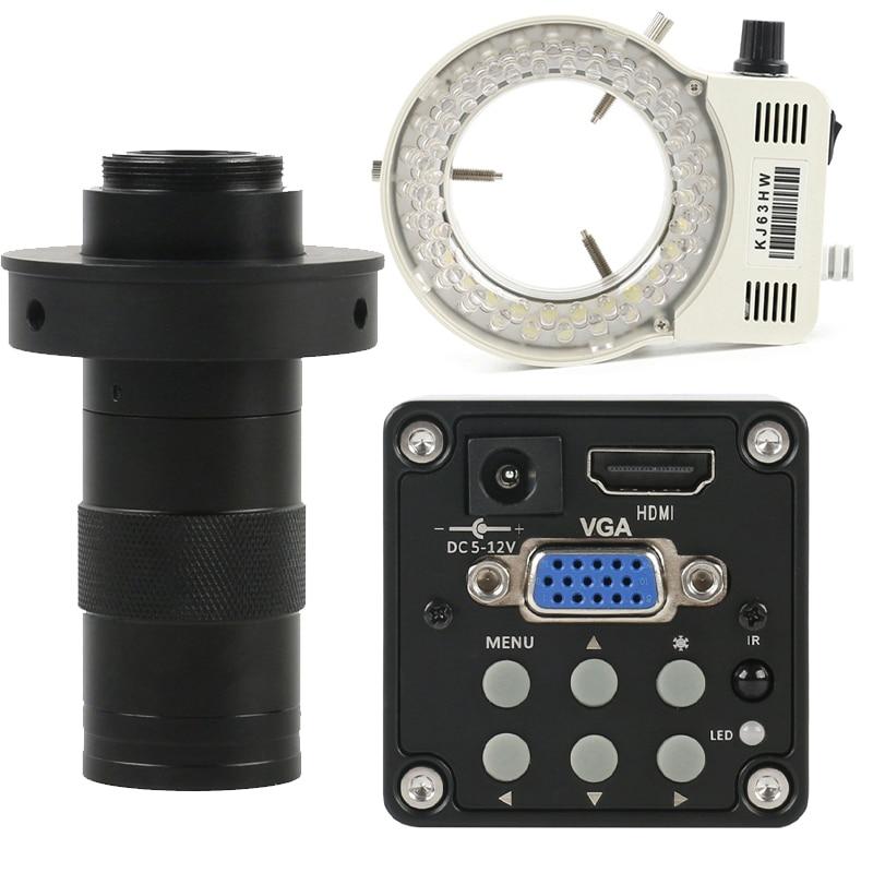 الصناعية الرقمية 14MP 1080P HDMI VGA فيديو مجهر كاميرا + 130X قابل للتعديل التكبير C جبل عدسة + 56 LED مصباح مصمم على شكل حلقة
