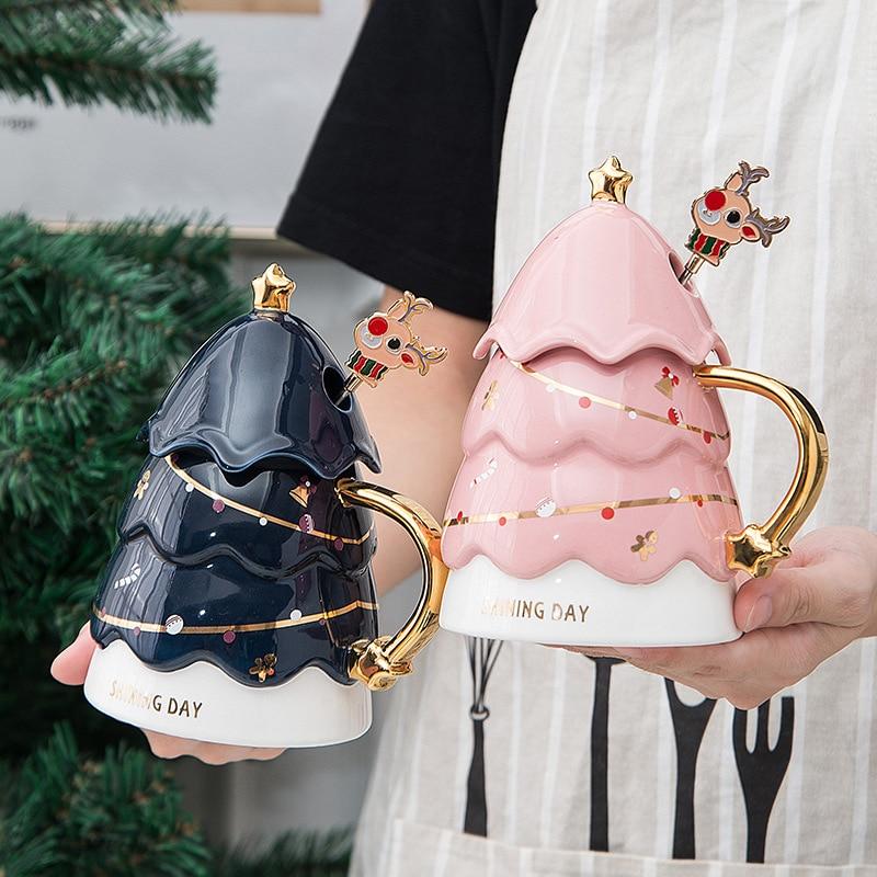 عيد الميلاد جديد المنتج هدية مربع الإبداعية جديد هدية مع غطاء اثارة القهوة القدح لطيف السيراميك كوب هدية