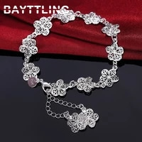 bayttling new 925 sterling silver 8 inch fine carved flower pendant bracelet for woman fashion glamour wedding jewelry gift