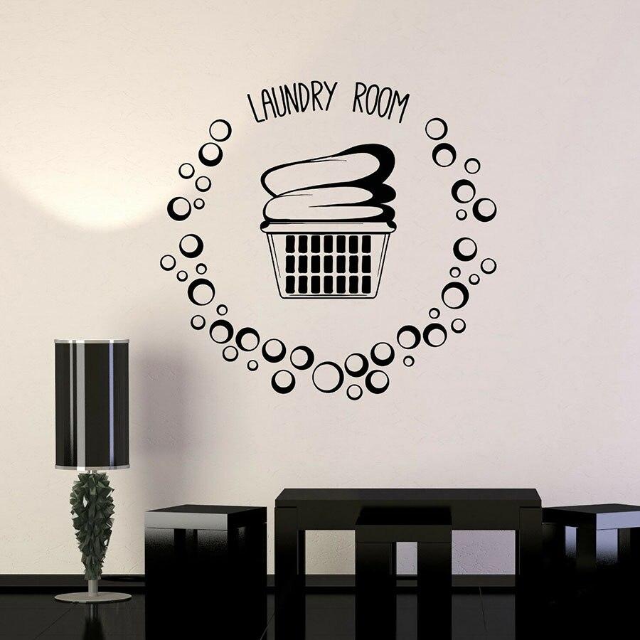 Lavanderia Cesta Roupas Bubbles Vinyl Decalque Da Parede Da Sala Da Porta Janela Adesivos De Vidro Decoração de Interiores Arte Mural S1234 À Prova D Água