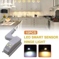 10pcs cabinet led hinge light closet night lights hinge led sensor light for kitchen cabinet cupboard modern kitchen night light