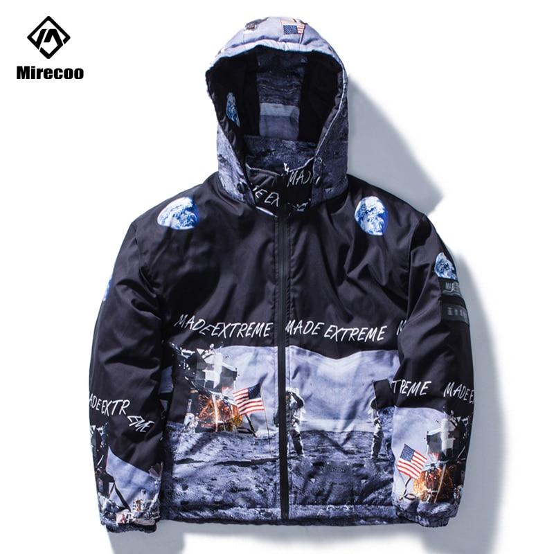 Mirecoo Hip Hop Hooded Jacket Parka Astronaut Printed Harajuku Streetwear Men Windbreaker Design Winter Coat Clothing