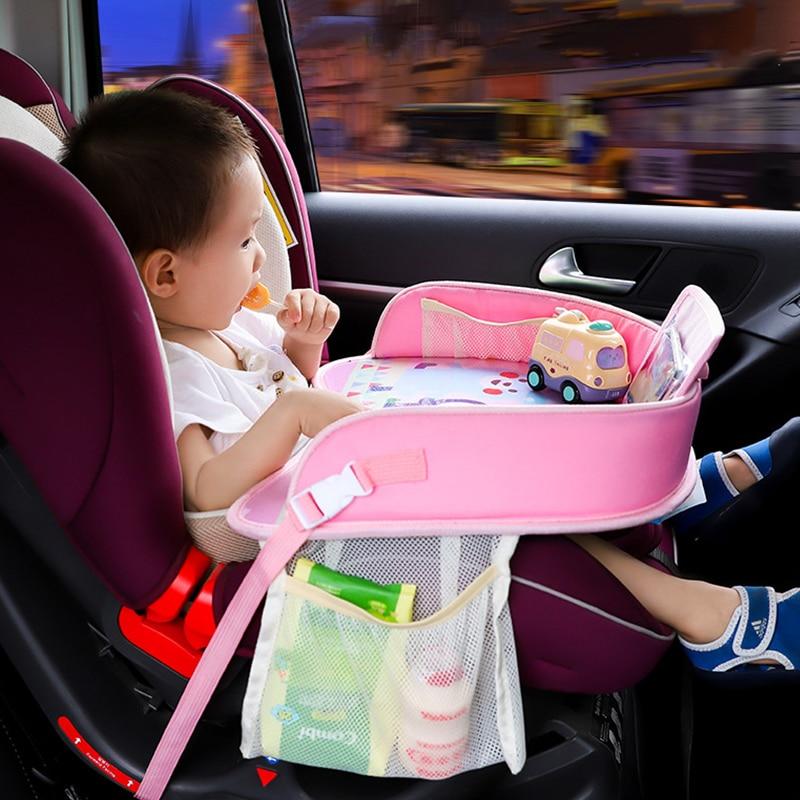 طفل المحمولة الجدول سيارة عربة طفل حامل الغذاء مكتب الأطفال طاولة مقاومة للمياه مقعد السيارة صينية تخزين متعددة الوظائف عربة لوحة