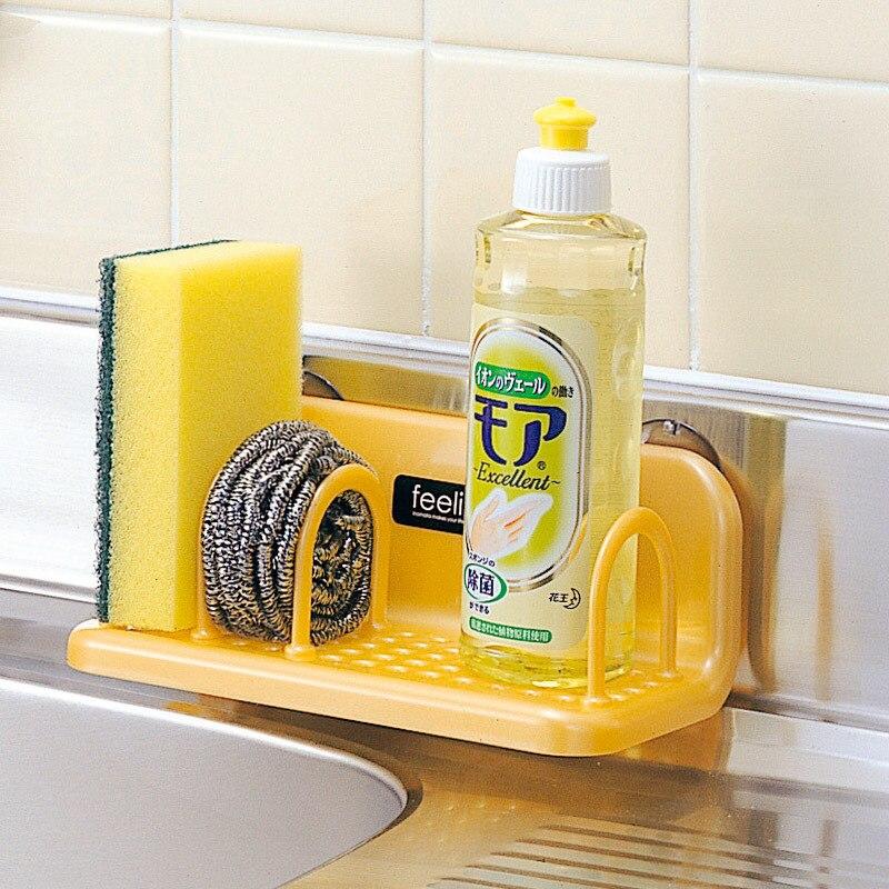 Estante de cocina importado de Japón, estante de almacenamiento de plástico para baño, ventosa para fregadero, estante de drenaje, almohadilla estropajo esponja, soporte, abrazadera