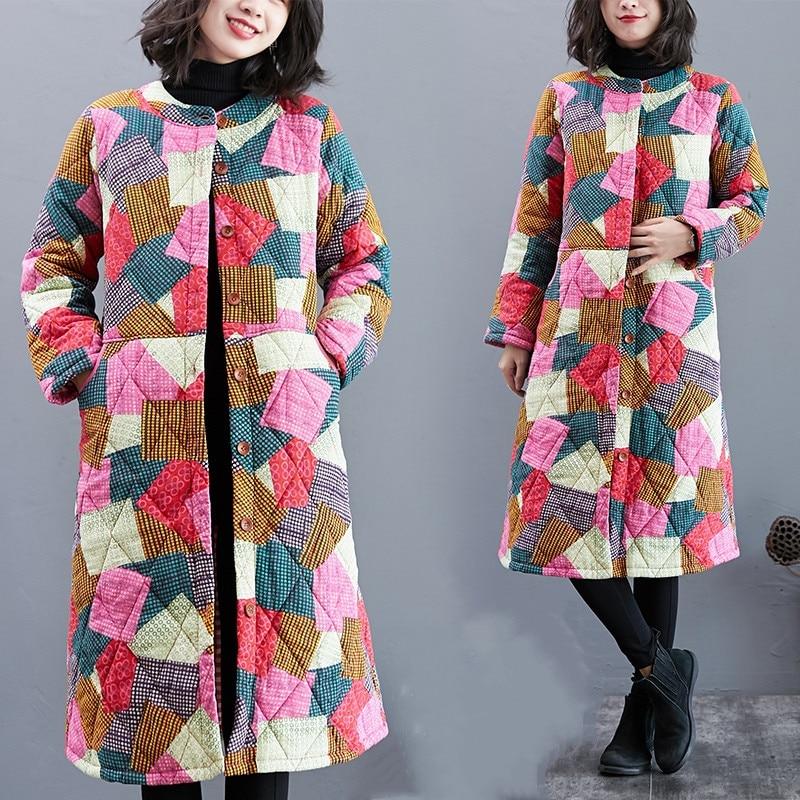 Fdfklak الشتاء الملابس حجم كبير معطف نمط العرقية الأدبية اللون مبطن هندسية القطن وسادة مبطنة زر Manteau فام
