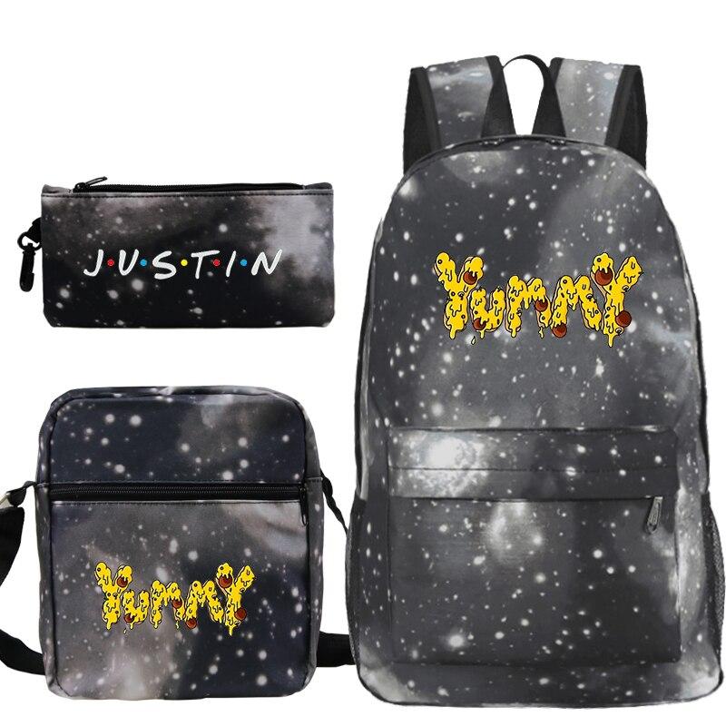 Justin Bieber Yummy Backpack 3pcs/set Women Lunch Tote Pencil Case Laptop Backpack Men School Bags for Girls Travel Back Pack