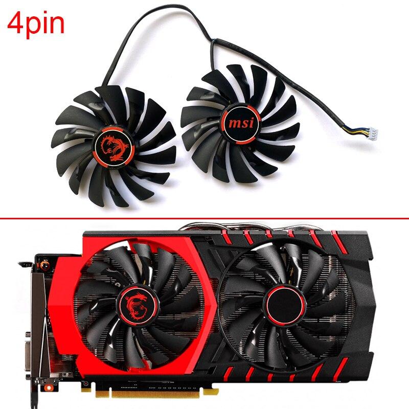 Новый 95 мм PLD10010S12HH 4PIN GTX980 вентилятор GPU для MSI Radeon R9 380 Armor 2X GTX 1060 970 RX580 Охлаждающие вентиляторы для видеокарты