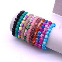 8mm kristall armband mode hohe qualität glas perlen kristall armband & armbänder für frauen einfache kristall armband schmuck