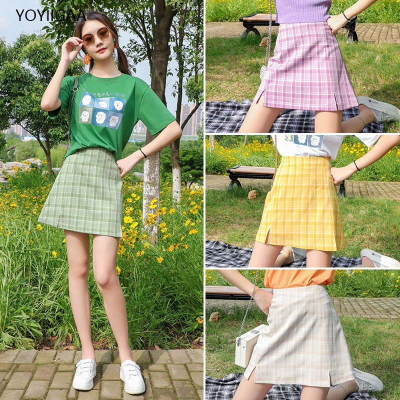 Harajuku Women Plaid Skirt Summer Pencil Skirts High Waist A-Line Female Mini Skirts Fashion Chic Lady Party Zipper Short Skirt