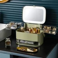 creative cosmetics storage box dustproof desktop led light hd makeup mirror integrated skin care lipstick holder