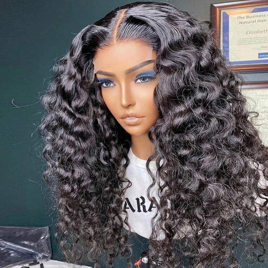 Deep Wave 13x4 Water Wave Lace Front Wigs For Black Women Pre Plucked With Baby Hair Frontal Brazilian Remy Curly Human Hair Wig