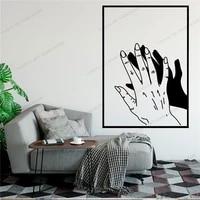 Main ligne dessiner Art autocollant mural pour la decoration de la maison salon mode stickers muraux Valentines peintures murales amovibles Wallpoof CX1446