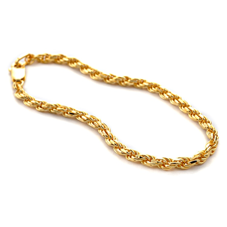 Italien 3MM Punk 18K Gold überzogen Authentische 925 Sterling silber Braid Roped Verdreht Kette Chunky Armband Wist feinen schmuck TLS331
