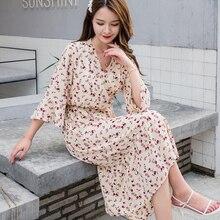 Femmes robe nouveau 2020 printemps été 5XL grande taille Lotus feuille femmes robes à manches longues à fleurs Simple robe élégante Vestidos