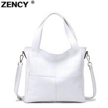 2020 Fashion 100% Genuine Cow Leather Women Shoulder Bags Ladies Shopping Handbag Long Handle Messenger Black White Cowhide Bag