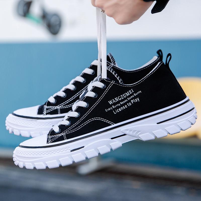 Кеды мужские холщовые, высокие кроссовки, повседневная обувь на плоской подошве, брендовые эспадрильи, для скейтборда, синие Черные