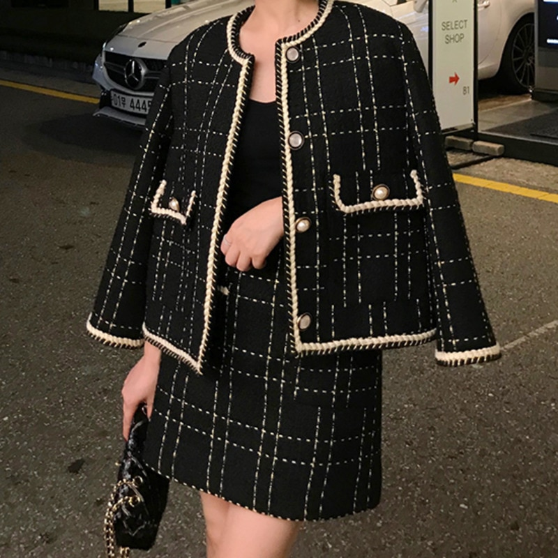 European Style Autumn Winter 2 Piece Set Women Short Woolen Tweed Jacket Coat & Bodycon Mini Skirt Set Women Two Piece Outfits