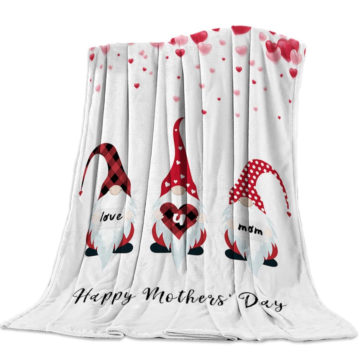 بطانية سرير من الصوف ، خفيفة الوزن ، فائقة النعومة ، مريحة ، عيد الأم ، Gnome ، هدية عيد الأم ، للبالغين والأطفال