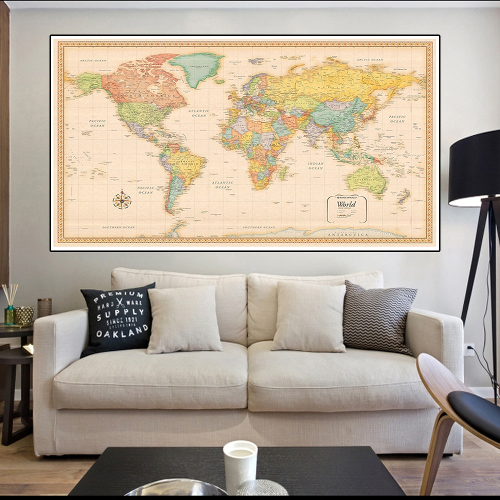 150*100cm The World Map Classic Edition Vintage Map Non-woven Canvas Painting Wall Art  Poster Home Decoration School Supplies