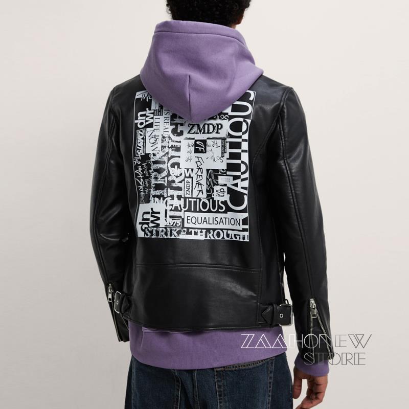 ZAAHONEW جديد ربيع الخريف الرجال الموضة عادية مطبوعة فو سترات من الجلد الأسود دراجة نارية نمط التلبيب معطف الذكور