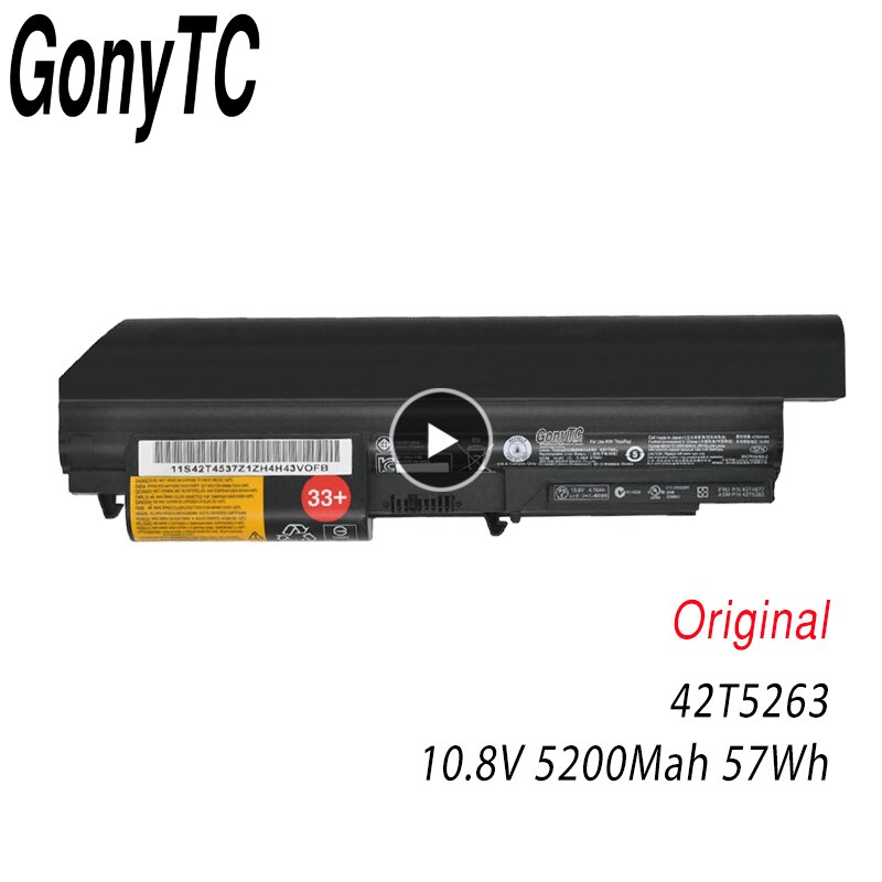 GONYTC 10.8V 57Wh 5200mAh الأصلي 42T4653 42T4549 42T4677 42T5263 محمول بطارية لأجهزة لينوفو T400 R400 R500 T61 T61P R61 R61I
