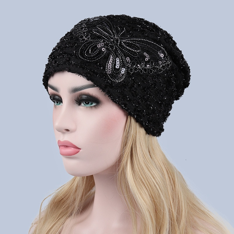 Autumn Winter Hats For Women Beanies Butterfly Hollowed-out Lace Windproof Cap Skullies Bonnet Female Gorros