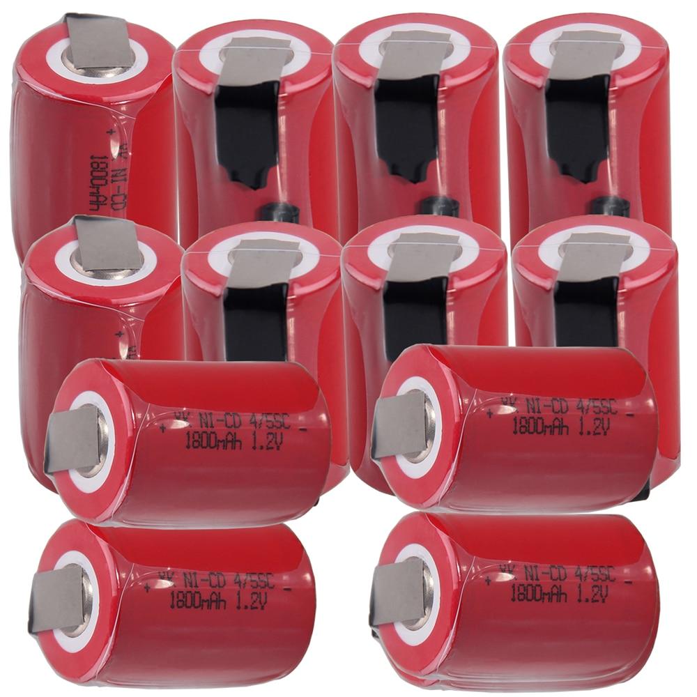 12 pcs 4/5SC bateria 1.2V baterias SUBC recarregável de alta capacidade 1800mah com tabscolor cor aleatória aleatória