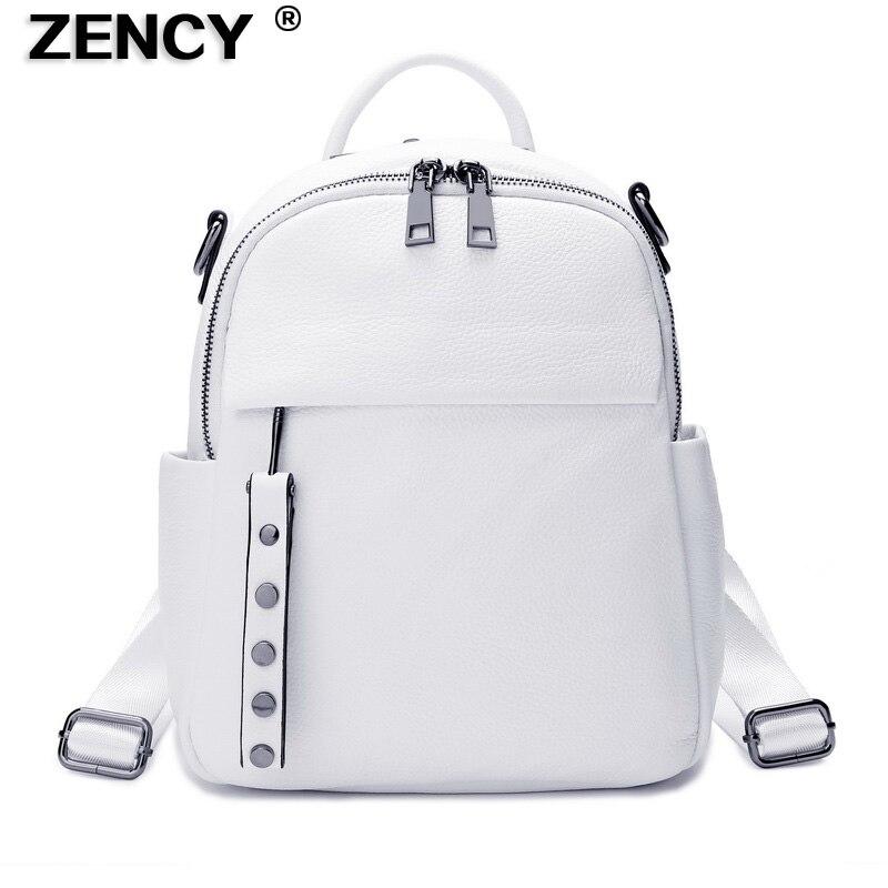ZENCY 2020 Año Nuevo de moda de cuero de vaca 100% auténtico, mochila para mujer, chica, suave, de grado Real, bolsa de cuero de vaca, mochila de estilo