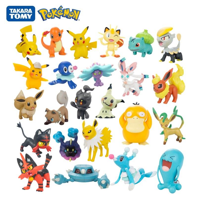 Tomy Pokemon 3-7cm Detective Pikachu Eevee Popplio Incineroar Litten Charmander Mimikyu Meowth Anime Action Figure Dolls Toy