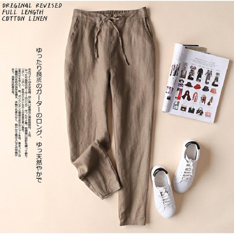 Новинка, женские элегантные брюки из хлопка и льна, женские деловые брюки, популярные дизайнерские хлопковые брюки от известного бренда