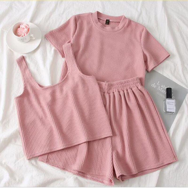 Heliar Pink O-Neck T-Shirt And Shorts And Camis Women Three Pcs Sets Pants Sets Femme Female Outfits 2021 Summer Suits Women