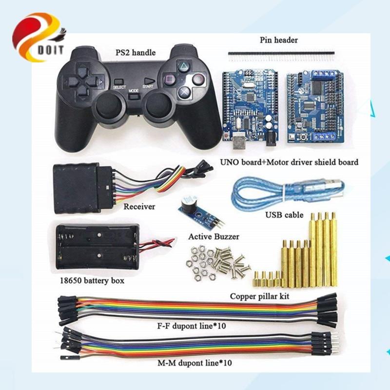 Mango inalámbrico Control RC Kit con tablero UNO + Motor Placa de protección + mango para Arduino Robot tanque coche Compatible con PS2
