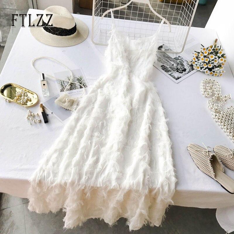 ¡Novedad de 2020! Vestido blanco de playa para mujer, vestido de verano ajustado de línea a sin mangas con borlas, vestido de fiesta con tirantes finos y escote en V, vestido largo