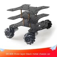 mc808 three layer black metal chassis car 65mm black plastic omnidirectional wheel with 4pcs dc motor diy rc black metal chassis